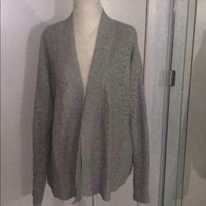 Hinge Open Front Gray Sweater